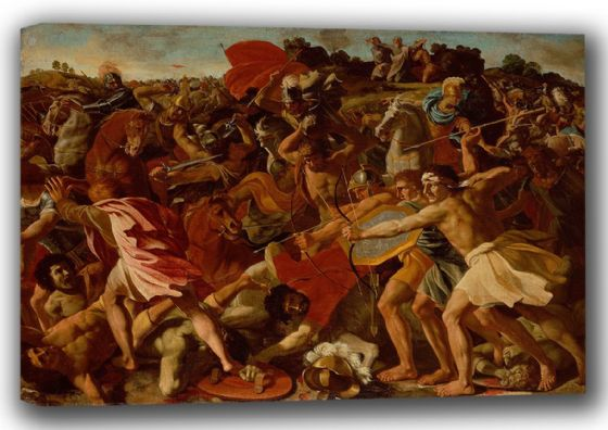 Poussin, Nicolas: Victory of Joshua over the Amalekites. Fine Art Canvas. Sizes: A4/A3/A2/A1 (001500)